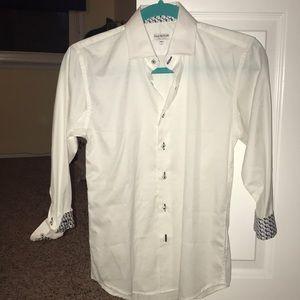 Isaac Mizrahi boys White button down dress shirt.